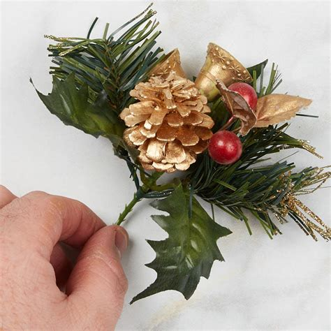 christmas floral picks and stems gold gilded artificial pine floral picks and stems floral supplies craft