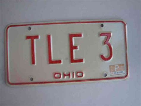 ohio vanity license plate t l e 3 tim tom ted terry tony