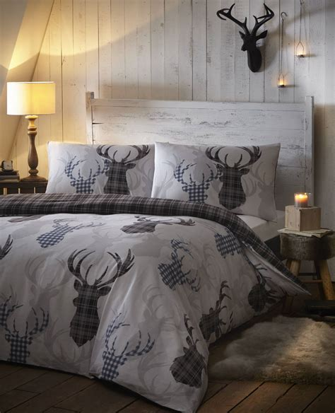 deer bedroom stag deer winter christmas duvet quilt cover bedding set