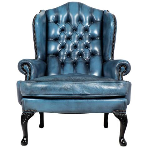Chesterfield Wing Armchair by Vintage Steel Blue Leather Chesterfield Wingback Armchair