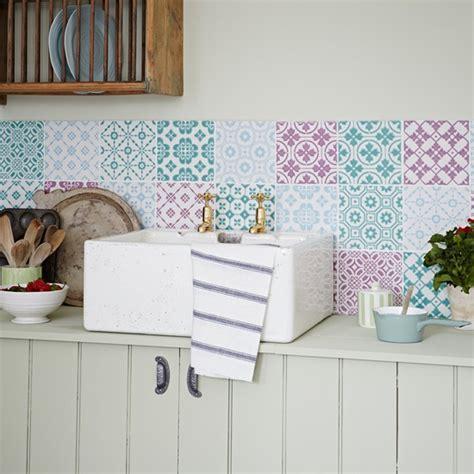 pastel kitchen ideas kitchen with pastel coloured patchwork tiles decorating
