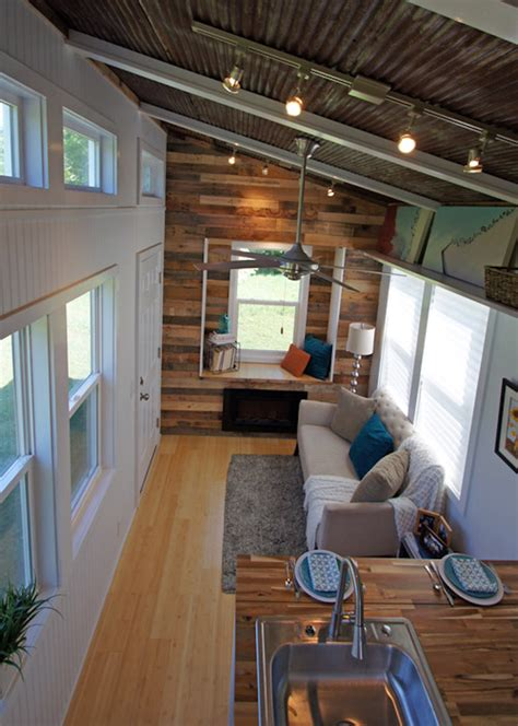 tiny houses inside brightly colored tiny house on wheels called the yosemite