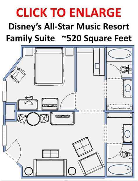 Disney World Floor Plans - floor plan family suites at disneys all resort