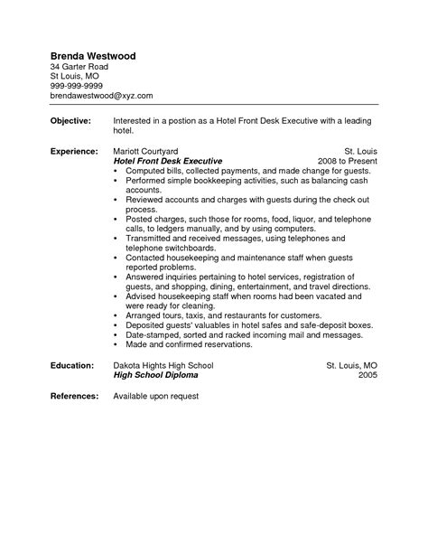 How To Write A Resume With One Job Experience by Front Desk Clerk Resume Resume Badak