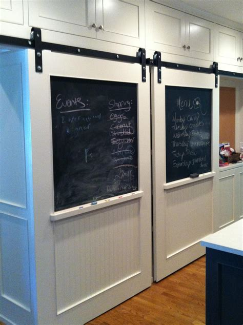 Chalkboard Sliding Closet Doors Superb White Finished Sliding Barn Doors For Homes With Chalk Board Panels As Kitchen Door Ideas