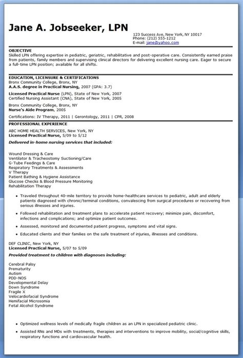 Lpn Resume by Sle Of Lpn Resume Sle Resumes