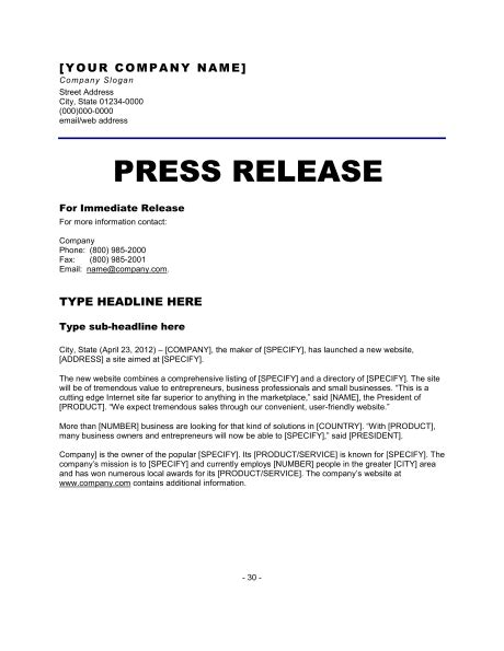 6 Press Release Templates Excel Pdf Formats Press Release Template