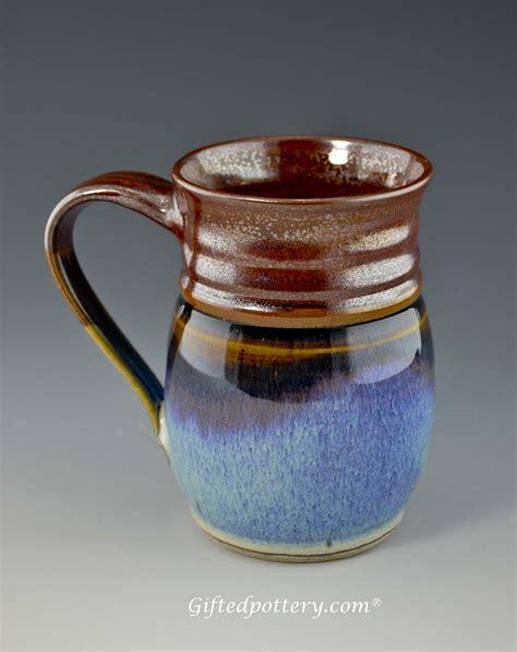 Handcrafted Pottery Mugs - handmade pottery mug plum blue 12 oz giftedpottery