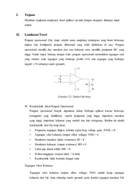 Penguat Operasional Op Teori Dan Rangkaian Dasar Original laporan rangkaian dasar op