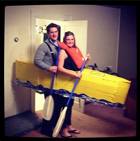 cardboard boat costume kayak large cardboard boxes couple halloween and