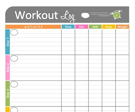 workout char template free printable workout schedule blank calendar printing