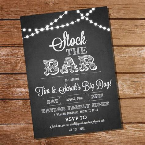 chalkboard stock the bar engagement party invitation