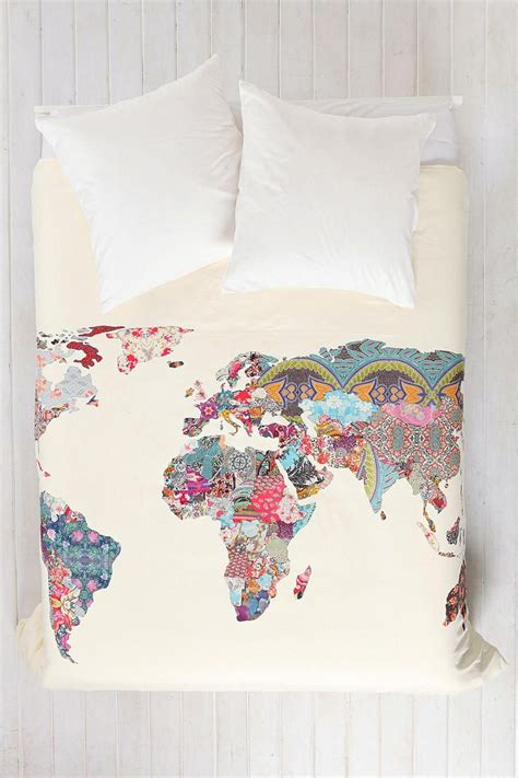 world map bedding bianca green for deny louis armstrong told us so duvet cover