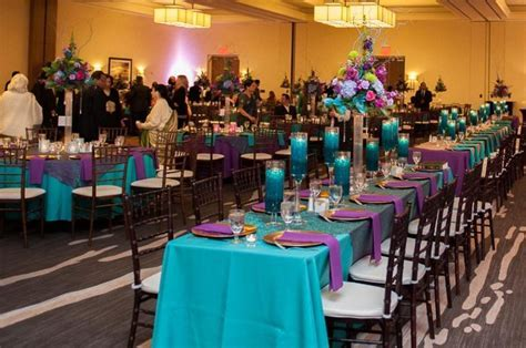 teal, purple, and gold wedding reception decor   Girls