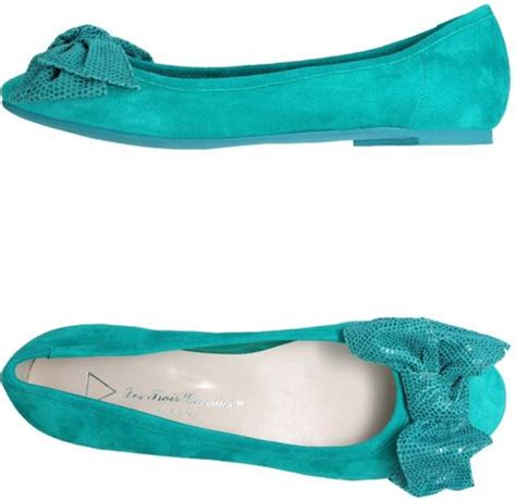 emerald green flat shoes les trois gar 231 ons ballet flats in teal emerald green lyst