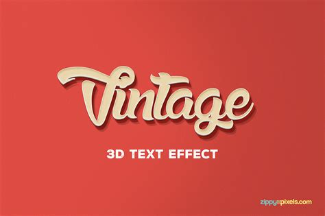 text effect template vintage themed free psd 3d text effect on behance