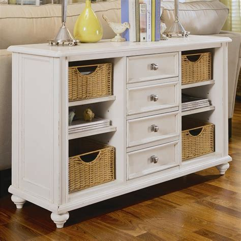 console table with 4 drawers and 4 baskets by american