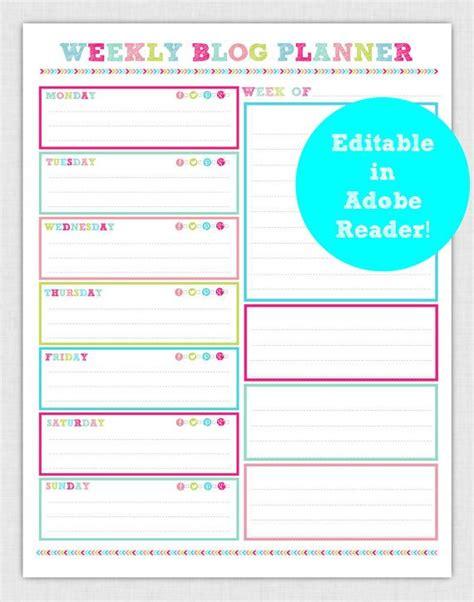 printable editable weekly planner editable weekly blog planner page pdf instant download