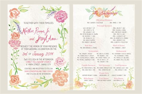 wedding entourage list template a watercolor invitation for a davao wedding for dreams