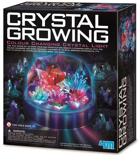 science crystal growing colour changing light