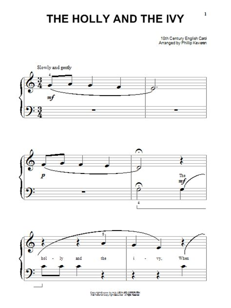 pattern in the ivy lyrics the holly and the ivy sheet music by traditional piano
