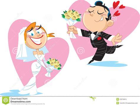 clipart divertenti sposa e sposo divertenti illustrazione vettoriale
