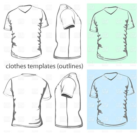 sleeve t shirt template vector free s v neck sleeved t shirt template vector image