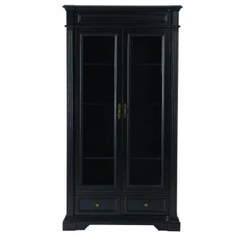 Black Bookcase With Glass Doors Home Decorators Collection Bufford 2 Drawer Bookcase With Glass Doors In Rubbed Black 9484500210