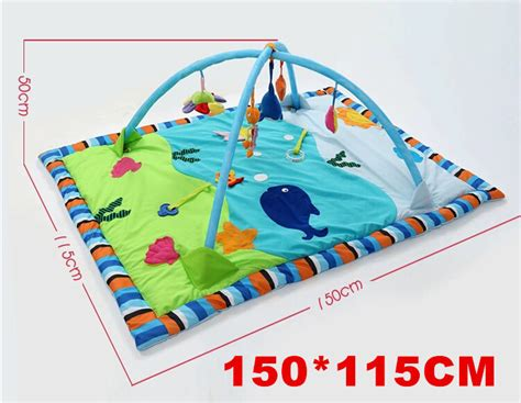 cotton large baby play mat sea and fish educational