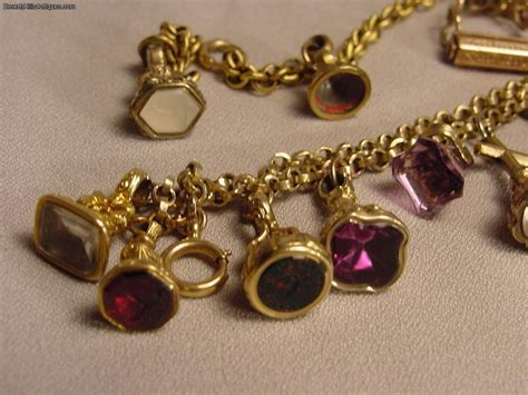 Two Antique Gold Filled Fob Bracelets (17 Fobs) For Sale