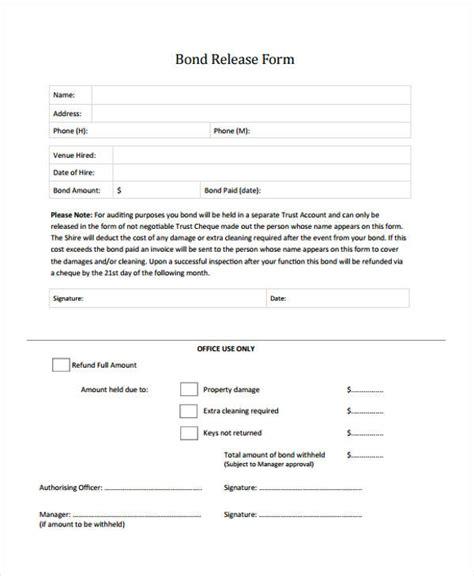 bond release forms  sample  format