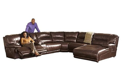 ashley furniture exhilaration sofa brown leather sectional recliner couch and chaise lounge