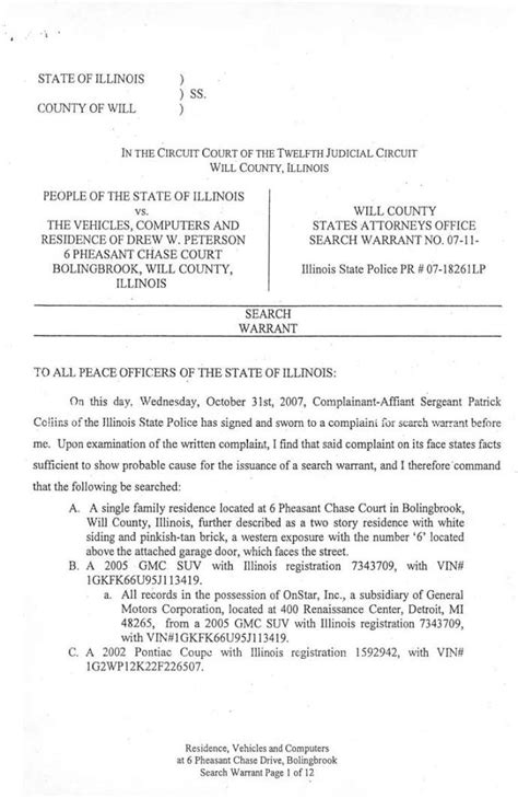 State Of Illinois Warrant Search Stacy Peterson Search Warrant103107 Htm