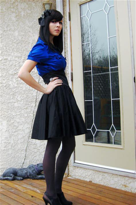 blue and black skirt dress