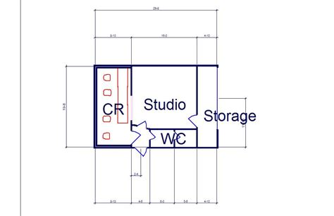 studio floor plan construction photos