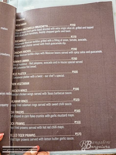 Hsr Layout Club Menu | you can also view the menu in their official website