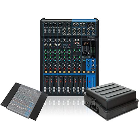 yamaha mg12xu mixer with rack mount kit and guitar