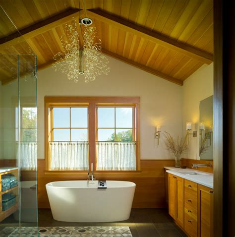 Rustic Timber Frame Home Rustic Bathroom burlington by Peregrine Design Build