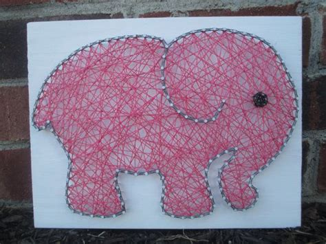 String Elephant - string elephant nursery decor pink