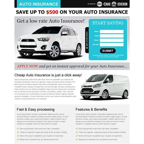 Low Rate Auto Insurance by Auto Insurance Landing Page Design To Capture Leads And