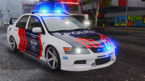 mitsubishi lancer evo 3 modification mitsubishi evo ix indonesian police pjr gta5 mods com