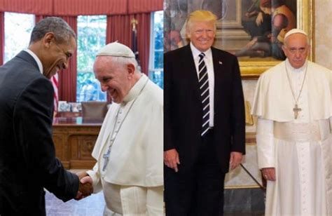 trump pope francis photo of obama and pope francis vs trump and pope francis