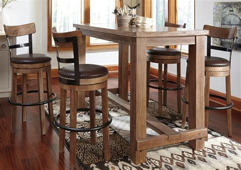 Dining Table With Bar Stools Barnett Brown Furniture Florence Al Pinnadel Bar Table W 4 Upholstered Swivel Stools