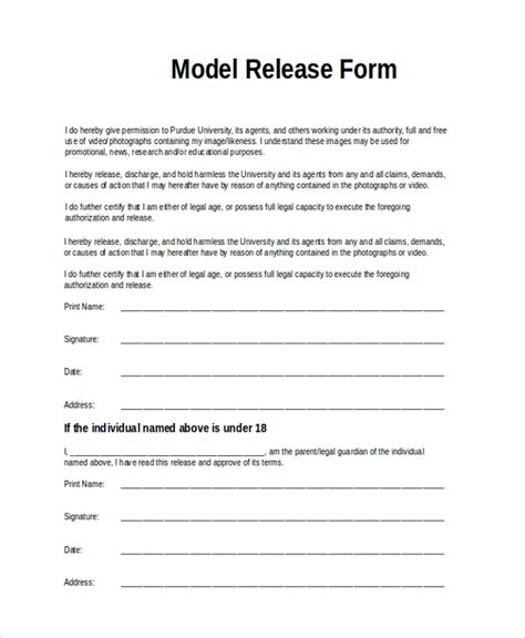 9 Sle Model Release Forms Sle Templates Model Photo Release Form Template