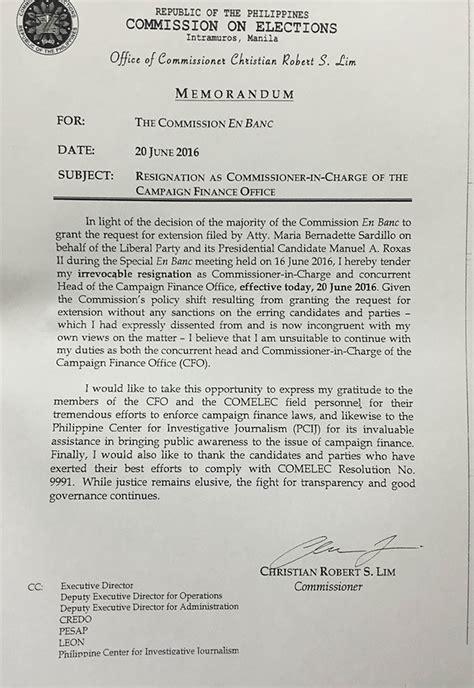 Christian Resignation Letter Resigned Comelec Cfo Lim Soce Filing Extension Illegal