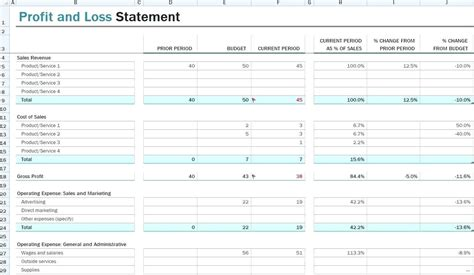 how to create a basic profit loss statement free download the