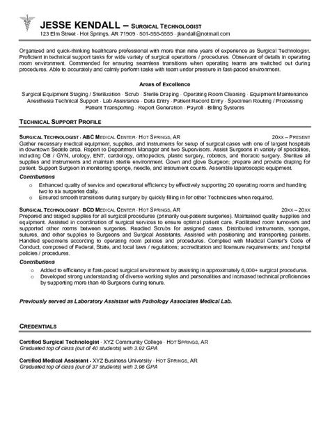 resume objective exles technologist surgical tech resume objective sles technician position