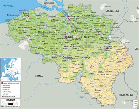 belgium map physical map of belgium ezilon maps