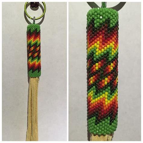 beadwork green beadwork green keychain with buckskin tassels