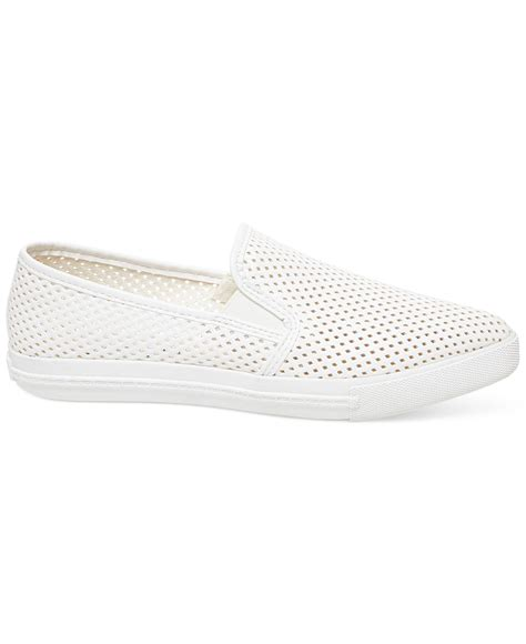 white slip on sneakers for lyst steve madden s virggo slip on sneakers in white